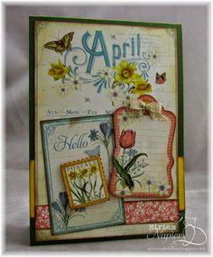 "April 2015 G45 Time to Flourish - April ""Hello"" Card by Miriam Napier; Miriam's Delirium"