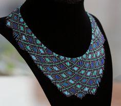 Azul aqua semilla grano collar collar con cuentas de por AxmxZ
