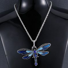 US Silver Chain Jewelry Necklace Pendant Dragonfly Crystal Sweater Chain Fashion