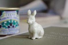 Little porcelain rabbit necklace on sterling silver by muddleparis, €42.00