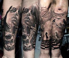 Woman and skull tattoo