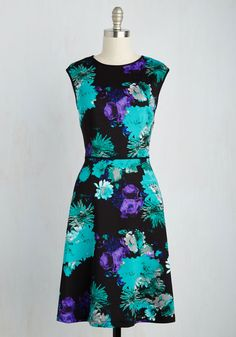 Delight Downtown Dress - Multi, Blue, Floral, Print, Daytime Party, A-line, Short Sleeves, Knit, Better, Mid-length