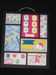 These are my Spring inserts for my Stampin' Up! Printer Tray (frame).  I love creating new inserts to share with my classes I hold at my house.  The bright colors are my favorite! Made by Lisa Bowell-Stampin' Up! Demonstrator @ lisastamps.com