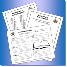 Fun Twist on Book Reports freebie - Five Looks on a Book graphic organizer and 99 Adjectives to Describe Any Book