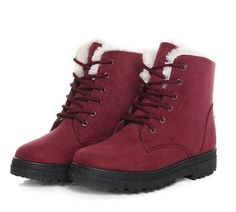 Huafeiwude Womens Winter Warm Fully Fur Wearable Ankle Snow Boots *** For more information, visit image link.