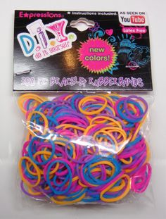 Rainbow Loom Refill Bands, DIY 300 New Color Mix, New in Package with S Clips