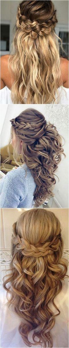 pretty half up half down wedding hairstyle ideas #weddinghairstyles #weddinghairstyleshalfuphalfdown