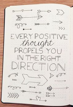 Every positive thought propels you in the right direction. Positivity quotes in . - Every positive thought propels you in the right direction. Positivity quotes in my bullet journal. Bullet Journal Spread, Bullet Journal Inspo, My Journal, Journal Pages, Journal Ideas, Bullet Journal Quotes, Bullet Journal First Page, Bullet Journals, Quotes For Journals