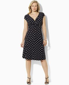 Lauren Ralph Lauren Plus Size Polka-Dot Cap-Sleeve Dress - Dresses - Women - Macy's