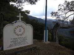 """The monument of a hero at Madari peak Cyprus.""""Selladi tou Karamanli""""."""