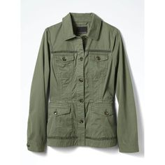 Banana Republic Womens Eyelet Trim Military Jacket (16400 DZD) ❤ liked on Polyvore featuring outerwear, jackets, military style field jacket, military style jacket, eyelet jacket, green jacket and green military jacket