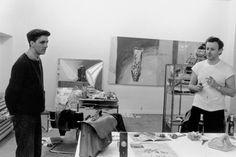 Albert Oehlen and Martin Kippenberger in his studio at Friesenplatz, Cologne, 1983. Foto: Bernhard Schaub