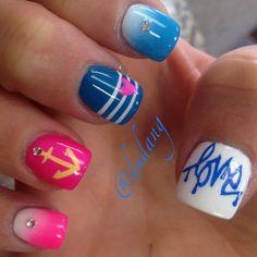 Image via Summer nails. Get Nails, Fancy Nails, How To Do Nails, Fabulous Nails, Gorgeous Nails, Pretty Nails, Nautical Nails, Cute Nail Designs, Art Designs
