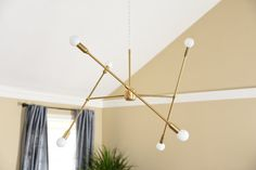 Free Shipping Large Modern Chandelier Gold Three Arm Sputnik