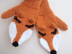 Knit  Fox Mittens Gloves Hand Knit Fox by myknittingworld on Etsy