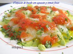Les receptes of Miquel: Cod carpaccio with avocado and fresh tomato Fish Recipes, Real Food Recipes, Healthy Recipes, Yummy Food, No Cook Appetizers, Appetizer Recipes, Pescado Recipe, Tapas, Ceviche