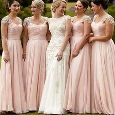 Pretty Junior Cap Sleeve Blush Pink Chiffon Formal A Line Floor-Length Cheap Bridesmaid Dresses, WG85