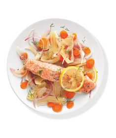 Salmon With Fennel and Carrots recipe from realsimple.com #MyPlate #protein #veggies