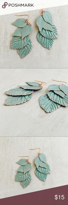 """Green Leaf  Earrings Beautiful layered leaf drop earrings. Gorgeous oxidized copper green look, detailed stamped leaves, layered on a delicate chain. Lightweight and excellent quality. You'll love these. Summer Essential. 2 1/4"""" Jewelry Earrings"""