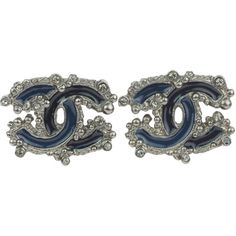 Pre-owned Chanel Dark Blue Enamel CC Logo Crystal Earrings (1,725 ILS) ❤ liked on Polyvore featuring jewelry, earrings, pre owned jewelry, enamel jewelry, crystal jewellery, dark blue earrings and chanel jewellery