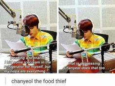 "this is so cute:P even if i dont hear him saying ""chanyeol does that too""i can hear how he said itXD << So Chanyeol is Baekhyun's oppa? Kdrama Memes, Exo Memes, Baekyeol, Youngjae, K Pop, Bts Got7, Chanyeol Baekhyun, Kim Minseok, Xiuchen"