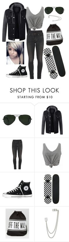 """""""Let's Go Skateboarding"""" by emo-roxanne ❤ liked on Polyvore featuring Ray-Ban, Citizens of Humanity, Converse, Vans and French Connection"""