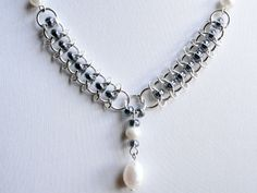 Chainmaille necklace pearl necklace medieval by handmadeintoronto