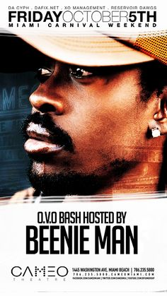 "Miami Carnival Weekend at Cameo Nightclub presents the O.V.O Bash hosted by Beenie Man. Come party with us as we celebrate Carnvial Weekend with Dancehall legend Beenie Man famous for singles like ""Gun Shot"" with Nicki Manaj and ""Girls Dem Sugar"" featuring Mya    At Mansion tonight!  1235 Washington Avenue  Miami Beach... Check out our site for all of your vacation needs! Walk to here from our rentals! http://www.miamihabitat.com/apartments.asp"