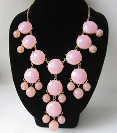 pink bubble necklaceholiday partybridesmaid by Arkpearl on Etsy, $16.00