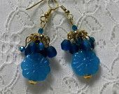 Marilyn1545Marilyn Rush             #Jewelry #Earrings #TealBlue #GlassFloralMotif#czechCrystal #GoldFindings http://www.etsy.com/listing/74039555 #handmade #Unique #Original #GRC #20 Pretty