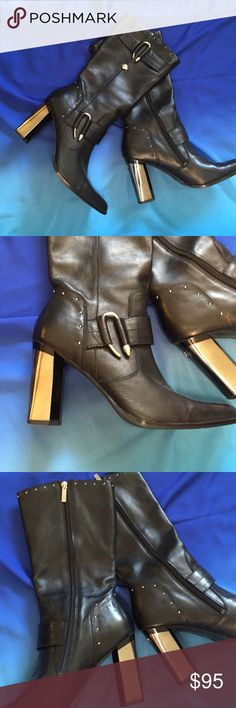 Harley size 8-1/2 Chrome Heeled Boots Smokin hot with so much attitude! Chrome heels, leather and studs! Don't let these sneak by. These boots were made for walkin', and ridin', dancin' and more! Harley-Davidson Shoes Heeled Boots