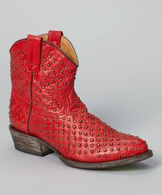 Red & Gold Faithful Leather Cowboy Boot #zulily #zulilyfinds