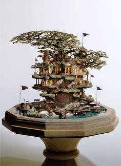 Artist transforms bonsai trees and empty cans into insane Lilliputian cities    Japanese artist Takanori Aiba