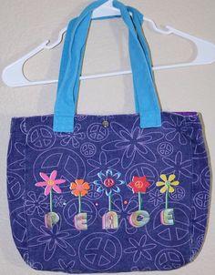 Peace Tote Bag Girls Purple Blue with Flowers Hand bag AC01 #MessengerShoulderBag