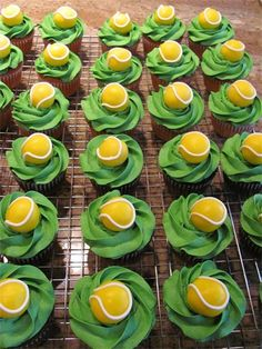 Id rope in my good friend Amy to decorate some tennis Cupcakes Tennis Cupcakes, Tennis Cake, Tennis Party, Cute Cupcakes, Tennis Tournaments, Tennis Clubs, Wimbledon Tennis, Sport Cakes, Tennis World