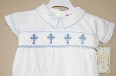 Boy's White Easter Smocked Romper with Blue by polkadotprayers, $25.00