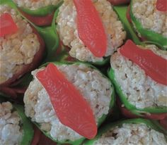 candy sushi made with rice krispie treats, fruit roll ups and Swedish fish...I make these too! They are so good!