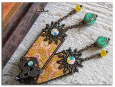 "RESERVED-Bohemian earrings ""perfumes Hanoi""-hippy-nomadic-boho-ethnic earrings-turquoise-yellow-Japanese picture-Asian style"