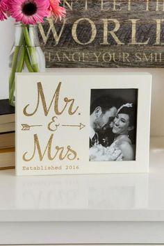 Gold Glitter Wood Mr. and Mrs. 2016 Photo Frame
