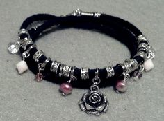 Triple Wrap Sued Charm Bracelet by StoneLoveJewelryGirl on Etsy, $15.00