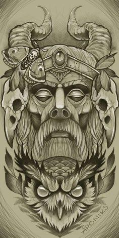 Full Sleeve Tattoo Design, Owl Tattoo Design, Tattoo Designs, Traditional Viking Tattoos, Traditional Tattoo Art, Owl Tattoo Drawings, Tattoo Sketches, Vikings, Forearm Cover Up Tattoos