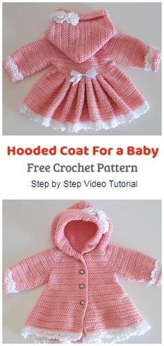 Crochet Baby Sweater Pattern, Crochet Baby Jacket, Crochet Baby Sweaters, Baby Sweater Patterns, Crochet Coat, Baby Girl Crochet, Crochet Baby Clothes, Baby Knitting, Crochet Baby Dresses