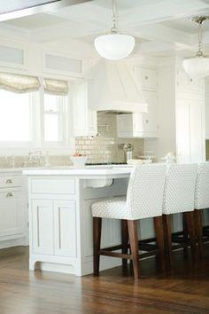 White contemporary kitchen, love that backsplash   Cute Decor