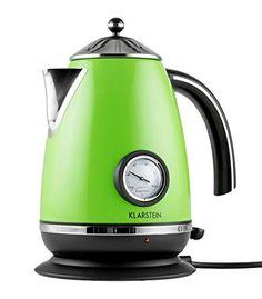 Klarstein Aquavita Chalet Wasserkocher Design Wasserkocher mit Thermostat (1,7 Liter, 2200 Watt, kabellos, Temperaturanzeige analog, Cool-Touch) grün