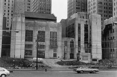 Jersey City Medical Center and its Powerhouse, abandoned, littered and in ruins. 1977.