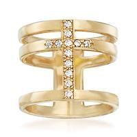 """""""Italian .20 ct. t.w. CZ Cross Ring in 18kt Gold Over Sterling. Size 9"""": """"Our futuristic open… #Jewelry #ClearanceJewelry #DiscountJewelry"""