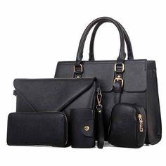 c28095177fc Fashion PU Leather Women s 5-PC Shoulder Crossbody Clutch Wallet Set 6  Colors