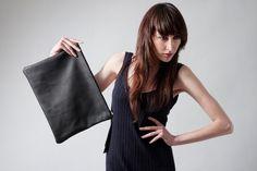 Portfolio clutch laptop sleeve black leather by MarketaNewYorkShop, $175.00