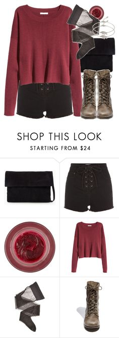 """Allison Inspired Outfit with a Red Sweater"" by veterization ❤ liked on Polyvore featuring MANGO, Lipstick Queen, Wolford, Steve Madden and Forever 21"