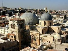 Originally built by the mother of Emperor Constantine in 330 A.D., the Church of the Holy Sepulcher commemorates the hill of crucifixion and the tomb of Christ's burial.     On grounds of tradition alone, this church is the best candidate for the location of these events.  The Garden Tomb was not identified as such until the 19th century.